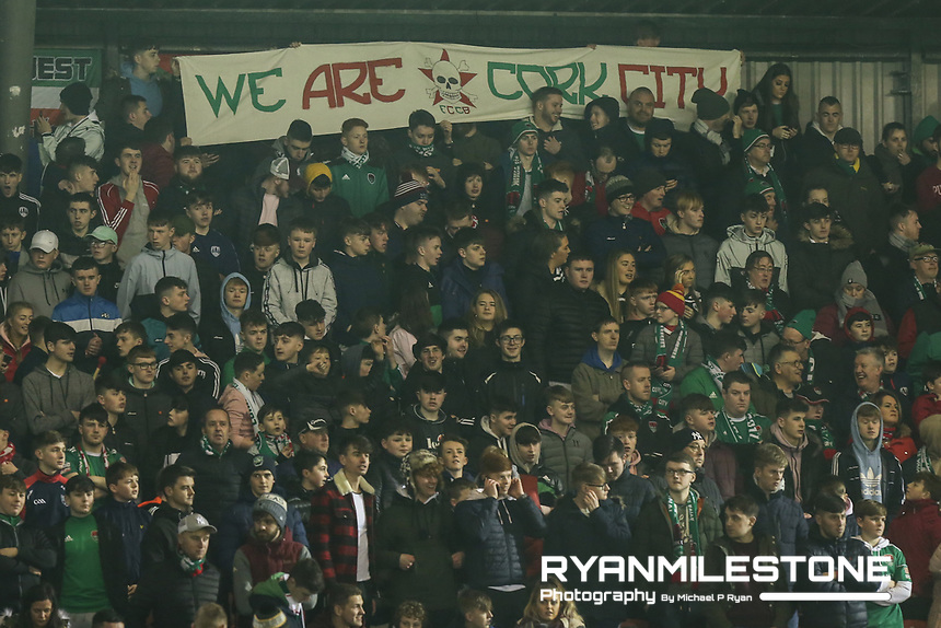 SSE Airtricity League Premier Division,<br /> Cork City vs Waterford FC<br /> Friday 22nd February 2019,<br /> Turners Cross, Co Cork.<br /> Cork City fans hold up a banner.<br /> Mandatory Credit: Michael P Ryan