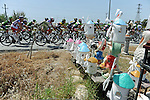 The peloton pass by during Stage 2 of the 2015 Presidential Tour of Turkey running 182km from Alanya to Antalya. 27th April 2015.<br /> Photo: Tour of Turkey/Stiehl Photography/Mario Stiehl/www.newsfile.ie