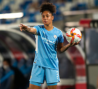 31st August 2021; Estadio Afredo Di Stefano, Madrid, Spain; Women's Champions League, Real Madrid CF versus Manchester City Football Club; Demi Stokes of Man City takes a throw-in