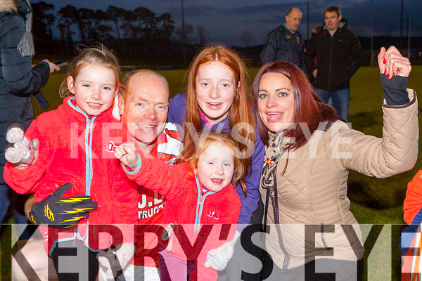 Brosna's Micheal Murphy celebrates with his family members Emer, Clodagh, Caoimhe, and Marie  after they won the Munster Junior final against Glin in Mallow on Sunday
