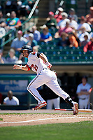 Rochester Red Wings left fielder J.B. Shuck (21) runs to first base during a game against the Scranton/Wilkes-Barre RailRiders on June 7, 2017 at Frontier Field in Rochester, New York.  Scranton defeated Rochester 5-1.  (Mike Janes/Four Seam Images)
