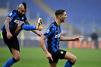 Achraf Hakimi of FC Internazionale celebrates after scoring the goal of 1-2 as his teammate Arturo Vidal tries to kick him during the Serie A football match between AS Roma and FC Internazionale at Olimpico stadium in Roma (Italy), January 10th, 2021. Photo Andrea Staccioli / Insidefoto