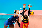 Julieta Constanza Lazcano of Argentina (L) attacks during the FIVB Volleyball Nations League Hong Kong match between China and Argentina on May 29, 2018 in Hong Kong, Hong Kong. Photo by Marcio Rodrigo Machado / Power Sport Images