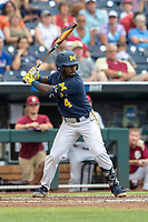 Michigan Wolverines second baseman Ako Thomas (4) at bat during Game 6 of the NCAA College World Series against the Florida State Seminoles on June 17, 2019 at TD Ameritrade Park in Omaha, Nebraska. Michigan defeated Florida State 2-0. (Andrew Woolley/Four Seam Images)