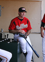 2007:  Hall of Fame member Paul Molitor sits in the dugout while with the Rochester Red Wings prior to a game at Frontier Field during an International League baseball game. Photo By Mike Janes/Four Seam Images