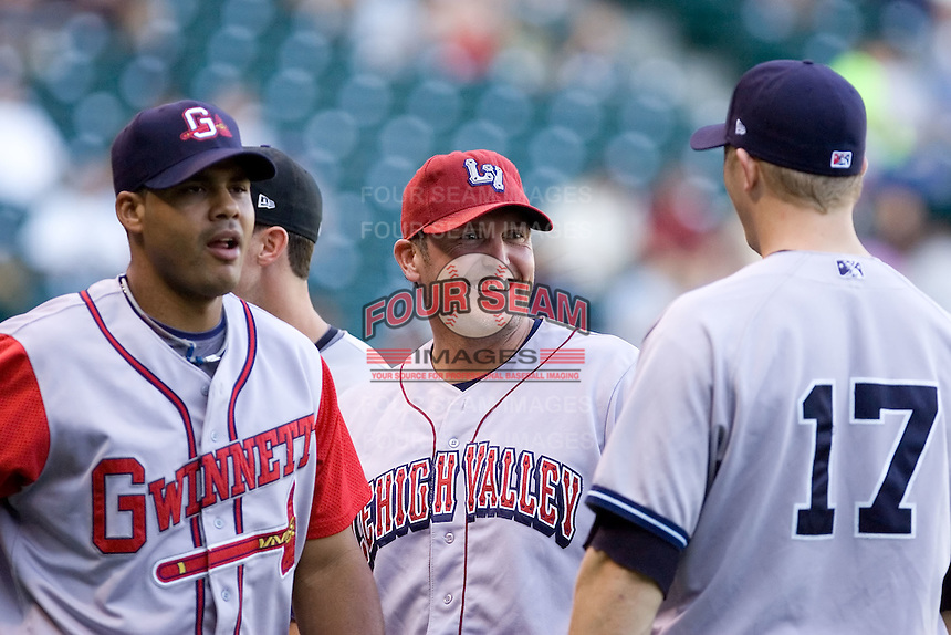 July 15, 2009: Lehigh Valley IronPigs' Andy Tracy during player introductions at the 2009 Triple-A All-Star Game at PGE Park in Portland, Oregon.