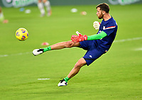 ORLANDO CITY, FL - JANUARY 31: Matt Turner #1 of the United States warming up before a game between Trinidad and Tobago and USMNT at Exploria stadium on January 31, 2021 in Orlando City, Florida.