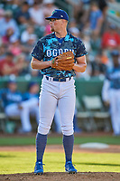 Jeff Belge (31) of the Ogden Raptors looks home against the Idaho Falls Chukars at Lindquist Field on August 9, 2019 in Ogden, Utah. The Raptors defeated the Chukars 8-3. (Stephen Smith/Four Seam Images)
