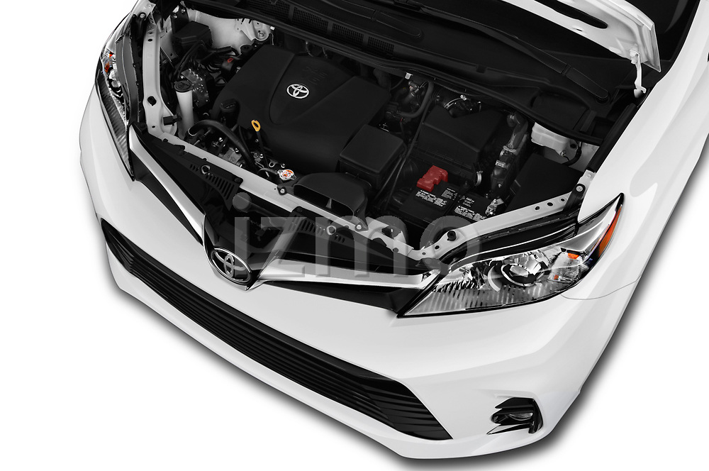 Car stock 2020 Toyota Sienna XLE 5 Door Mini Van engine high angle detail view
