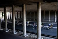 Ludwig De Winter (BEL/Wanty Gobert) leading the chase in the peloton under the bridge.<br /> <br /> <br /> 94th Schaal Sels 2019<br /> One Day Race: Merksem  >  Merksem  (UCI 1.1)<br /> ©kramon