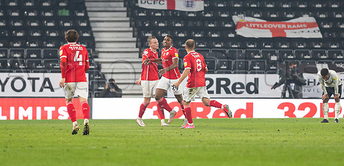 7th November 2020; Pride Park, Derby, East Midlands; English Football League Championship Football, Derby County versus Barnsley; Victor Adeboyejo of Barnsley celebrates after scoring in the 83rd minute to take a 0-2 lead