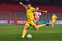 Alex Wall of Concord Rangers FC shot is saved during Stevenage vs Concord Rangers , Emirates FA Cup Football at the Lamex Stadium on 7th November 2020