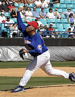 April 1, 2004:  Pitcher T.J. Tucker of the Montreal Expos (Washington Nationals) organization during Spring Training at Space Coast Stadium in Melbourne, FL.  Photo copyright Mike Janes/Four Seam Images