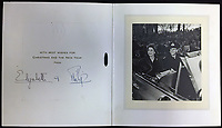 BNPS.co.uk (01202 558833)<br /> Pic: Rowleys/BNPS<br /> <br /> Pictured: 1951 - First card from Princess Elizabeth and Prince Philip sold for £100<br /> <br /> <br /> A series of Christmas cards sent by the Royal Family to a married couple on their staff over a 25 year period have sold for £2,000.<br /> <br /> Most of the cards were sent by the Queen and Prince Philip and show the changing face of the monarchy from the black-and-white post war world to the colourful 1970s.<br /> <br /> They were sent to the couple who worked at Balmoral, the wife in the house and the husband on the estate.<br /> <br /> The cards were sold individually with the most expensive being the one for Christmas 1947 which was signed by King George VI and the Queen Mother.