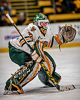 9 February 2018: University of Vermont Catamount Goaltender Sydney Scobee, a Sophomore from Minnetrista, MN, in first period action on her way to a shutout against the University of Connecticut Huskies at Gutterson Fieldhouse in Burlington, Vermont. The Lady Cats won 1-0 the first game and tied the second game 0-0 in their weekend Hockey East series. Mandatory Credit: Ed Wolfstein Photo *** RAW (NEF) Image File Available ***