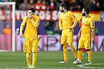 FC Barcelona's Leo Messi, Gerard Pique and Arda Turan dejected during Champions League 2015/2016 Quarter-Finals 2nd leg match. April 13,2016. (ALTERPHOTOS/Acero)