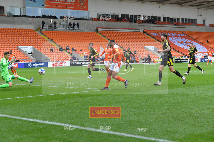 09/05/2021 Sky Bet League 1 Blackpool v Bristol Rovers  <br /> <br /> Jed Ward  saves fron Keshi Anderson
