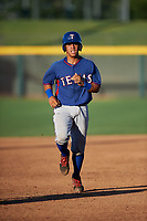 AZL Rangers Heriberto Hernandez (4) jogs toward third base during an Arizona League game against the AZL Athletics Gold on July 15, 2019 at Hohokam Stadium in Mesa, Arizona. The AZL Athletics Gold defeated the AZL Rangers 9-8 in 11 innings. (Zachary Lucy/Four Seam Images)