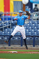 Charlotte Stone Crabs first baseman Mike Marjama (20) looks to tag Anthony Alford (not shown) after getting pulled off the bag by the throw during a game against the Dunedin Blue Jays on July 26, 2015 at Charlotte Sports Park in Port Charlotte, Florida.  Charlotte defeated Dunedin 2-1 in ten innings.  (Mike Janes/Four Seam Images)