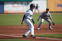Alika Williams (6) of the Charleston RiverDogs takes his lead off of third base against the Augusta GreenJackets at Joseph P. Riley, Jr. Park on June 27, 2021 in Charleston, South Carolina. (Brian Westerholt/Four Seam Images)