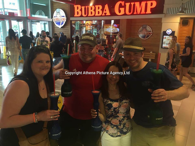 """Pictured: Samantha Evans (L) with friends in Las Vegas, image found on open social media account<br /> Re: A woman from Cardiff has told how she was standing next one of the victims of the Las Vegas massacre.<br /> Samantha Evans, 36, was at the music festival with her mother when the automatic gunfire started.<br /> Both women suffered minor injuries escaping from the hail of bullets fired from the Mandalay Bay hotel. <br /> Mrs Evans, who works for Virgin Holidays, said: """"Mum and I were at the festival just to the side of where someone got shot.<br /> """"We managed to get away with the help of some amazing Americans."""""""