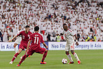 Ismail Salem Alhammadi of United Arab Emirates (R) fights for the ball with Karim Boudiaf of Qatar (L) and Akram Hassan Afif of Qatar (L2) during the AFC Asian Cup UAE 2019 Semi Finals match between Qatar (QAT) and United Arab Emirates (UAE) at Mohammed Bin Zaied Stadium  on 29 January 2019 in Abu Dhabi, United Arab Emirates. Photo by Marcio Rodrigo Machado / Power Sport Images