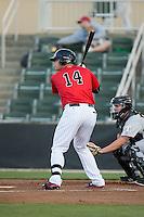 Corey Zangari (14) of the Kannapolis Intimidators at bat against the Hickory Crawdads at Kannapolis Intimidators Stadium on April 7, 2016 in Kannapolis, North Carolina.  The Crawdads defeated the Intimidators 5-1.  (Brian Westerholt/Four Seam Images)