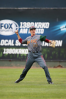 Garrett Schilling (39) of the Boise Hawks warms up before pitching against the Everett AquaSox at Everett Memorial Stadium on July 21, 2017 in Everett, Washington. Boise defeated Everett, 10-4. (Larry Goren/Four Seam Images)