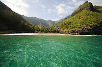 Turquoise water at Hanakapiai Beach on Kauai's Na Pali coast