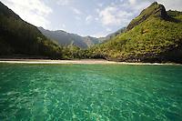 Turquoise water at Hanakapiai Beach on Kauai's Na Pali coast