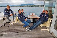 Swiss, Genève, September 14, 2015, Tennis,   Davis Cup, Swiss-Netherlands, Dutch team on a boat trip on lake Geneve, ltr: Tallon Griekspoor,  Jesse Huta Galung, Tim van Rijthoven ,  Matwe Midelkoop and Thiemo de Bakker,<br /> Photo: Tennisimages/Henk Koster