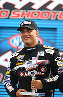 Aug 30, 2014; Clermont, IN, USA; NHRA top fuel dragster driver Tony Schumacher at driver introductions for the Traxxas Shootout during qualifying for the US Nationals at Lucas Oil Raceway. Mandatory Credit: Mark J. Rebilas-USA TODAY Sports