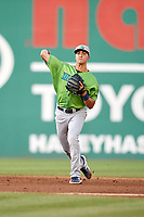 Lynchburg Hillcats shortstop Luke Wakamatsu (12) makes a throw during a game against the Salem Red Sox on May 10, 2018 at Haley Toyota Field in Salem, Virginia.  Lynchburg defeated Salem 11-5.  (Mike Janes/Four Seam Images)