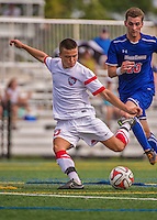 5 September 2014: St. Francis College Terrier Midfielder Harry Odell, a Junior from Manchester, England, in action against the University of Massachusetts River Hawks, at Virtue Field in Burlington, Vermont. The River Hawks defeated the Terriers 3-1, on the first day of the Morgan Stanley Smith Barney Windjammer Classic Men's Soccer Tournament. Mandatory Credit: Ed Wolfstein Photo *** RAW (NEF) Image File Available ***
