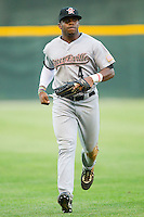 Center fielder Delino DeShields Jr. #4 of the Greeneville Astros runs off the field between innings at Calfee Park August 29, 2010, in Pulaski, Virginia.  Photo by Brian Westerholt / Four Seam Images