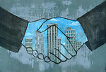 Illustrative image of merger's hands sealing a deal