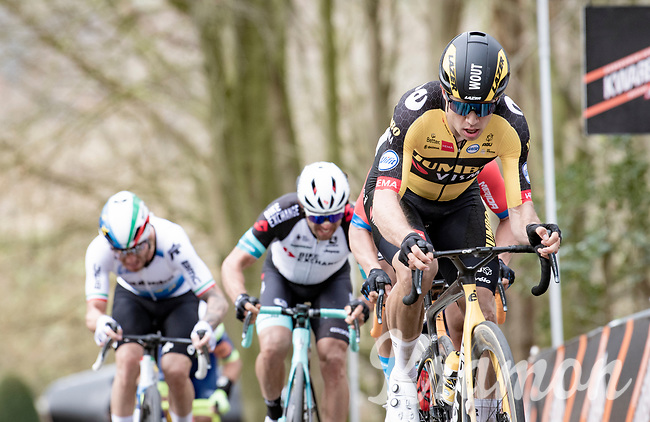 eventual race winner Wout van Aert (BEL/Jumbo-Visma) storming up the Kemmelberg  at the 83rd Gent-Wevelgem - in Flanders Fields (ME - 1.UWT)<br /> <br /> 1 day race from Ieper to Wevelgem (BEL): 254km<br /> <br /> ©kramon
