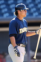 Trenton Thunder catcher Jose Gil #40 before a game against the Akron Aeros at Canal Park on July 26, 2011 in Akron, Ohio.  Trenton defeated Akron 4-3.  (Mike Janes/Four Seam Images)