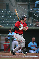 Grant Lavigne (34) of the Fresno Grizzlies bats against the Inland Empire 66ers at San Manuel Stadium on May 25, 2021 in San Bernardino, California. (Larry Goren/Four Seam Images)