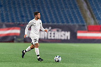 FOXBOROUGH, MA - SEPTEMBER 1: Joao Delgado #20 of FC Tucson brings the ball forward during a game between FC Tucson and New England Revolution II at Gillette Stadium on September 1, 2021 in Foxborough, Massachusetts.