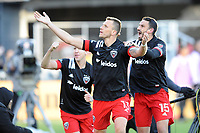WASHINGTON, DC - MARCH 07: Frederic Brilliant #13 of D.C. United celebrates his score with Steven Birnbaum #15 of D.C. United during a game between Inter Miami CF and D.C. United at Audi Field on March 07, 2020 in Washington, DC.