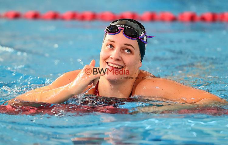 Paige Flynn celebrates winning the Women's 50m Backstroke. Swimming New Zealand National Short Course Championships, National Aquatic Centre, New Zealand, Saturday 6th October 2018. Photo: Simon Watts/www.bwmedia.co.nz