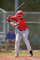 Ball State Cardinals center fielder Aaron Simpson (1) bats during a game against the Mount St. Mary's Mountaineers on March 9, 2019 at North Charlotte Regional Park in Port Charlotte, Florida.  Ball State defeated Mount St. Mary's 12-9.  (Mike Janes/Four Seam Images)