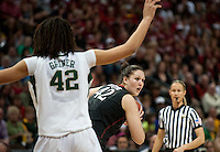 DENVER, CO--Sarah Boothe looks for an open teammate against Baylor during the semifinals of the 2012 NCAA Women's Final Four in Denver, CO. The Cardinal fell to the Bears 47-59.
