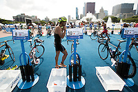 29 JUN 2014 - CHICAGO, USA - Hirokatsu Tayama (JPN) of Japan prepares to leave transition for the start of the bike during the elite men's ITU 2014 World Triathlon Series round in Grant Park, Chicago in the USA (PHOTO COPYRIGHT © 2014 NIGEL FARROW, ALL RIGHTS RESERVED)