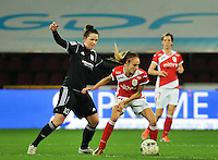 20131009 - LIEGE , BELGIUM : Standard's Tessa Wullaert (right) pictured with defending Glasgow's Suzanne Lappin (Left) during the female soccer match between STANDARD Femina de Liege and GLASGOW City LFC , in the 1/16 final ( round of 32 ) first leg in the UEFA Women's Champions League 2013 in stade Maurice Dufrasne - Sclessin in Liege. Wednesday 9 October 2013. PHOTO DAVID CATRY
