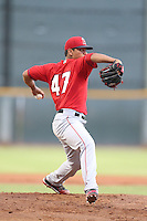 Ricardo Sanchez #47 of the AZL Angels pitches against the AZL Indians at the Cleveland Indians Spring Training Complex on July 13, 2014 in Goodyear, Arizona. AZL Angels defeated the AZL Indians, 6-5. (Larry Goren/Four Seam Images)