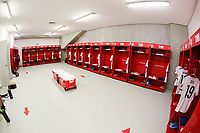 ZAPOPAN, MEXICO - MARCH 21: Locker room before a game between Dominican Republic and USMNT U-23 at Estadio Akron on March 21, 2021 in Zapopan, Mexico.