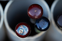 Bats belonging to Augusta GreenJackets outfielder Malique Ziegler (not pictured) sit in the bat rack at First National Bank Field prior to the game against the Greensboro Grasshoppers on April 10, 2018 in Greensboro, North Carolina.  The GreenJackets defeated the Grasshoppers 5-0.  (Brian Westerholt/Four Seam Images)