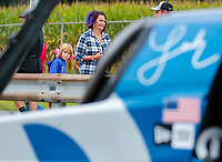 Sep 13, 2019; Mohnton, PA, USA; A young female fan looks at the dragster of NHRA top fuel driver Leah Pritchett during qualifying for the Keystone Nationals at Maple Grove Raceway. Mandatory Credit: Mark J. Rebilas-USA TODAY Sports